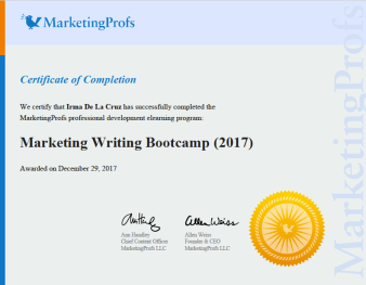 MarketingProfs Writing Certification
